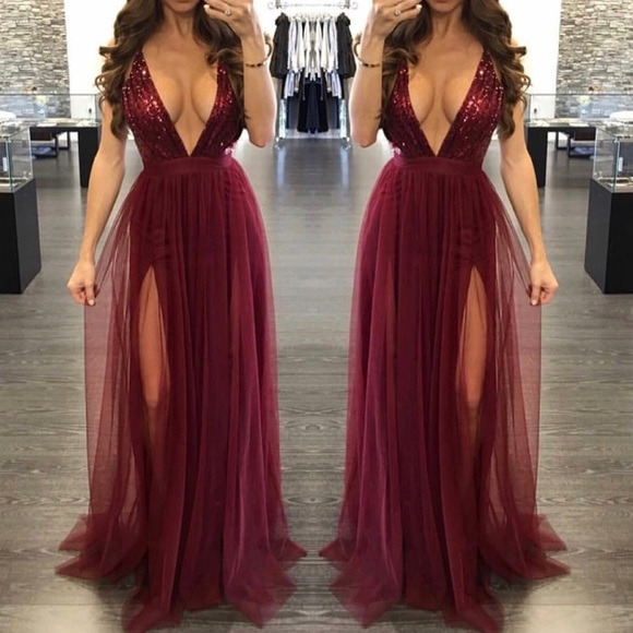 6505f0c46a Dresses | Sequin Burgundy Tulle Maxi Formal Prom Dress Gown | Poshmark